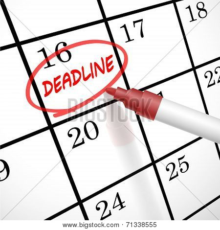 Deadline Word Circle Marked On A Calendar