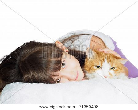 Portrait of face funny caucasian child kid girl sister with red cat isolated on white background poster