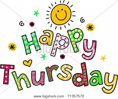 Happy Thursday Cartoon Text Clipart