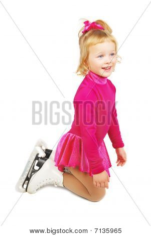 The girl skates in profile staing on knees on a white background. Very happy child in purple plum dress. poster