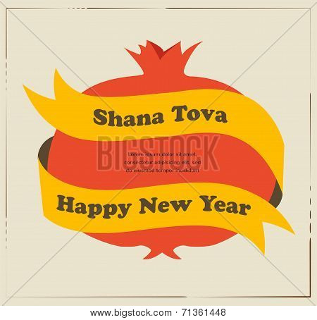 Rosh hashana card - Jewish New Year. Pomegranate with yellow ribon