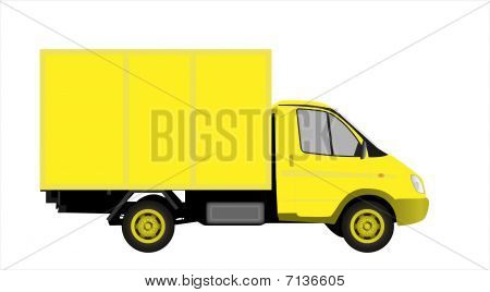 Yellow commercial vehicle