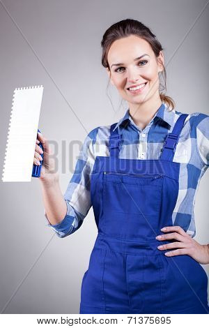 Beautiful Handywoman With Trowel