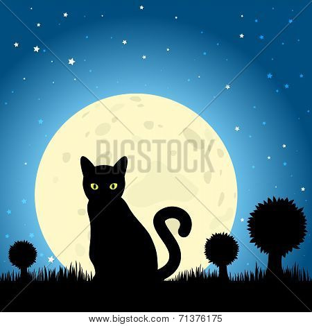 Halloween Black Cat Silhouette Against A Moon Night Sky, Eps10 Vector
