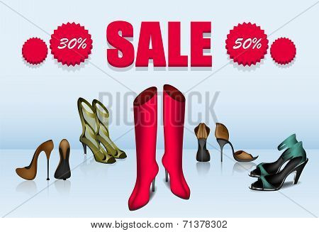 Five different shoes in sale