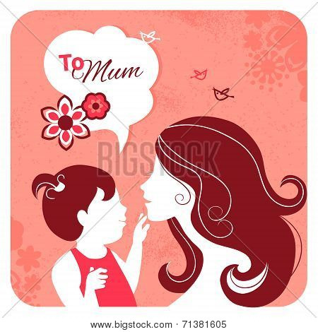 Happy Mother's Day. Card with beautiful silhouette of mother