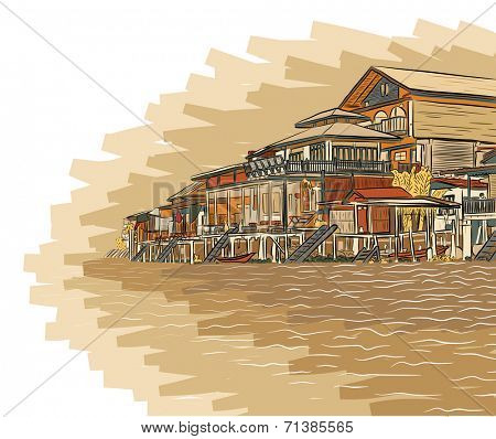 Illustration sketch of wooden waterside buildings