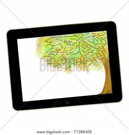 Social network tree Blog Symbol on a tablet pc Business growing