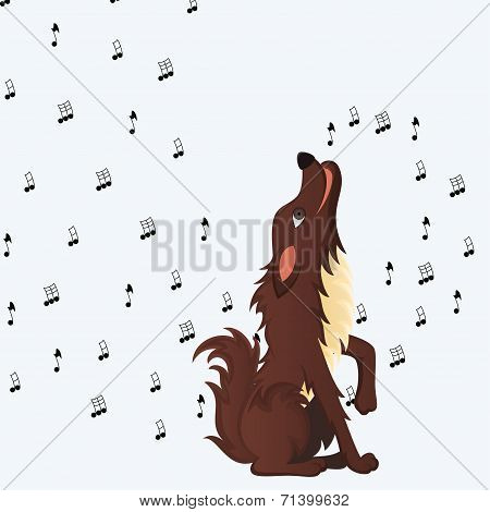 poster of Cute fluffy cartoon dog howling melody of musical notes. Vector illustration
