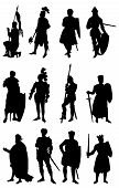 12 silhouettes of Knights in various positions. poster