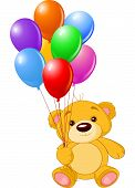 Vector illustration of cute little Teddy bear holding colorful balloons poster