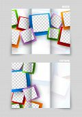 Tri-fold brochure template design with colorful circles poster