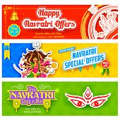 illustration of colorful banners for Happy Navratri Offer promotions poster