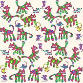 Seamless pattern with psychedelic cats and mice poster