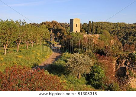 Medieval Tower In Village With Rural Landscape, Provence