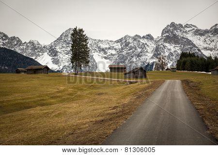 Buckelwiesen With Buckelwiesen with Karwendel Mountains, Bavaria, Germany