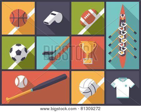 Team Sports Flat Design Vector Illustration. Illustration with various team sports equipment icons
