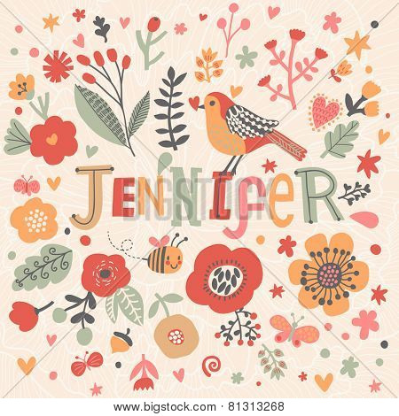 Bright card with beautiful name Jennifer in poppy flowers, bees and butterflies. Awesome female name design in bright colors. Tremendous vector background for fabulous designs