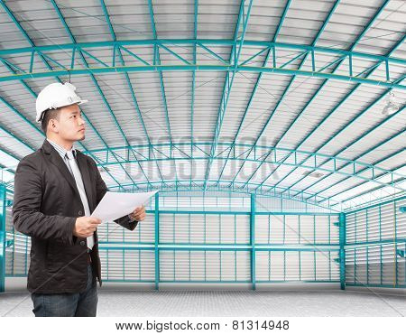 Inside Of Structure Empty Warehouse Use For Industry Background And Multipurpose