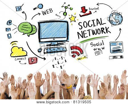 Social Network Social Media Hands Participation Unity Concept poster