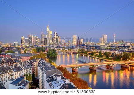 Frankfurt, Germany city skyline over the Main River.
