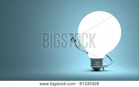 ???globe Light Bulb Character In Aha Moment