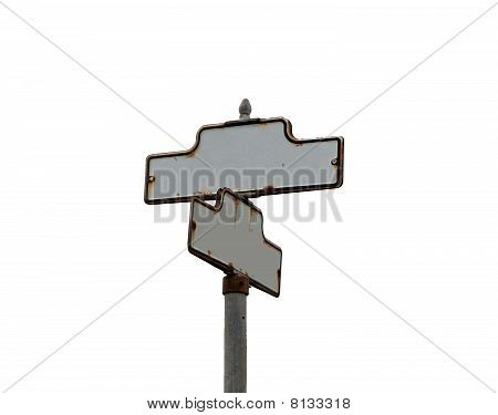 Vintage Old Street Sign Blank With Copy Space