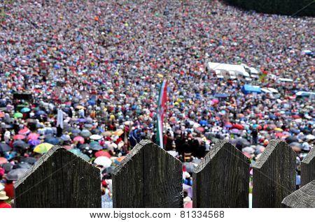 Catholic Pilgrims Celebrating The Pentecost In Romania