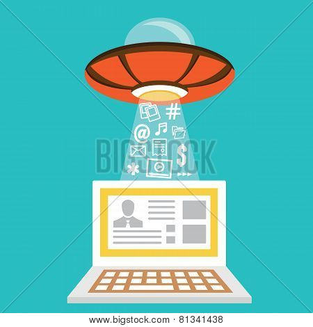 Vector Flat Concept Of Internet Fraud. Hacking Private Data