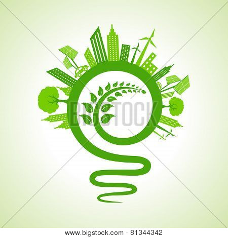 Ecology concept - eco cityscape with light-bulb and leaf icon stock vector