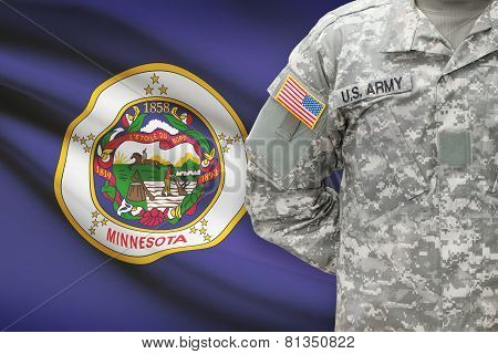 American Soldier With Us State Flag On Background - Minnesota