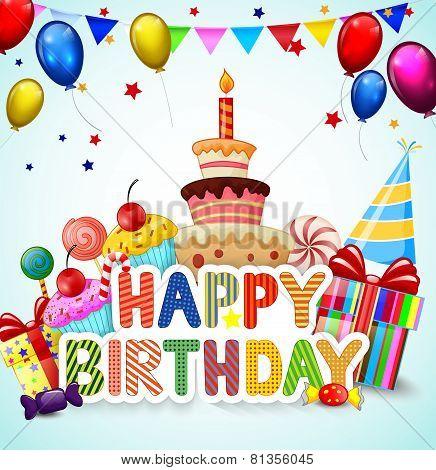Birthday background with birthday cake cartoon