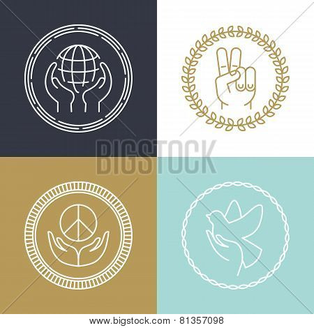 Vector Line Peace Signs And Logos