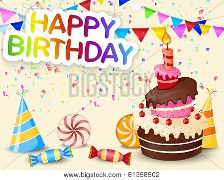 Birthday background with birthday cake cartoon