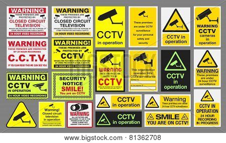 """Vector pack of different CCTV """"Closed Circuit Television"""" sings poster"""