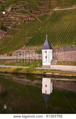 Old Ferry House At The River Mosel Near Trittenheim