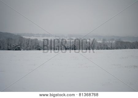 Country Scenicview During A Blizzard In New England