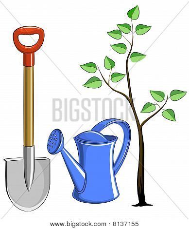 set garden instrument with tree
