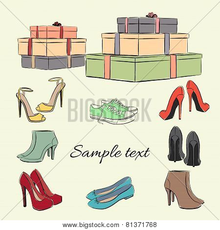 Various Fashionable Color Shoes And Boxes