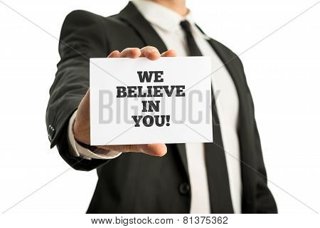 Business Card With Motivational Message We Believe In You