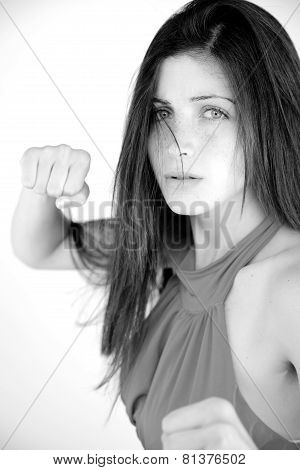 Portrait Of Woman Ready To Punch Black And White
