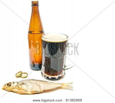 Stockfish And Dark Beer On White