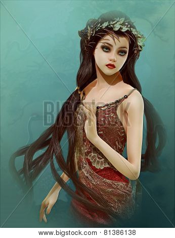 3d computer graphics of a girl with Asian fantasy hairstyle poster