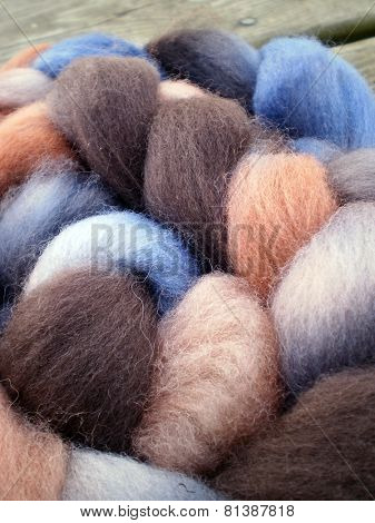 Alpaca wool and mohair wool on a wooden board poster