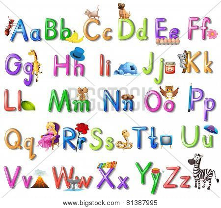 Illustration of an English alphabet poster
