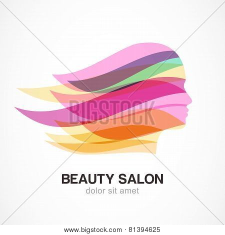 Beautiful Girl Silhouette With Colorful Streaming Hair. Abstract Design Concept For Beauty Salon, Ma