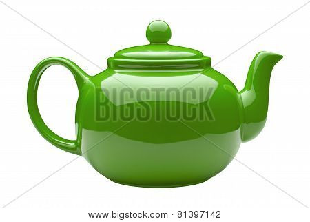 Green Ceramic Teapot