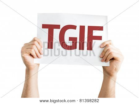 TGIF card isolated on white background