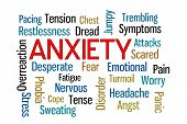 Anxiety word cloud on white background poster