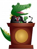 An Illustration of a Crocodile Speaker with Clipping Path poster